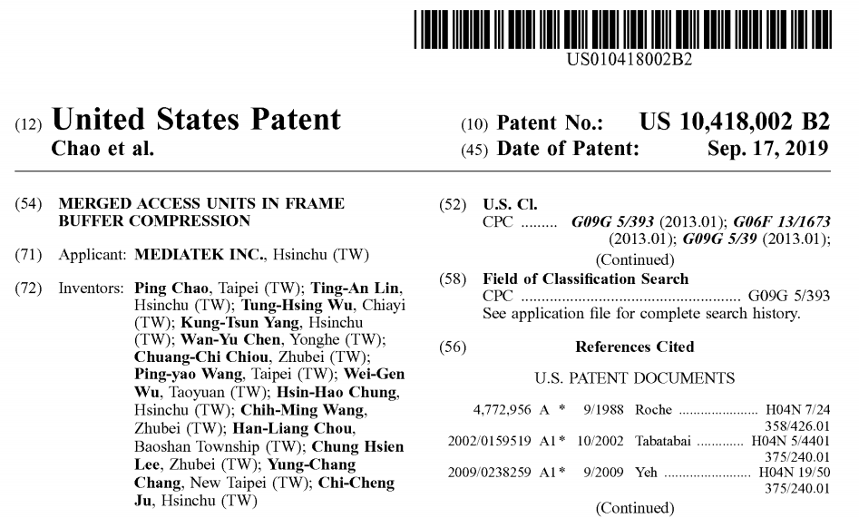 Merged access units in frame buffer compression patent